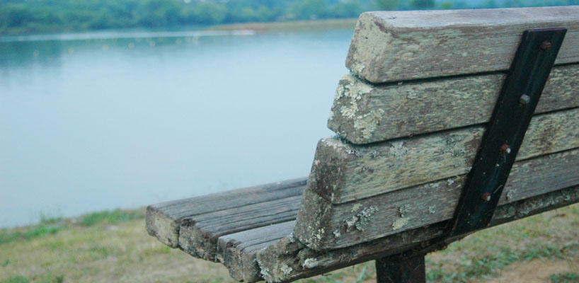 wooden bench in foreground with the lake in the background