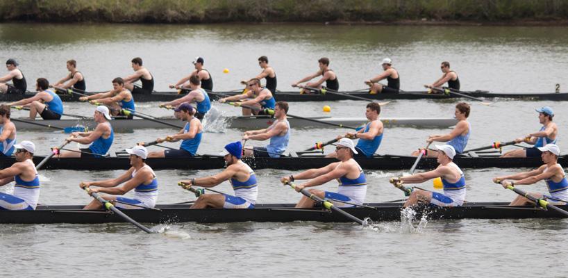 four row team racing on the lake
