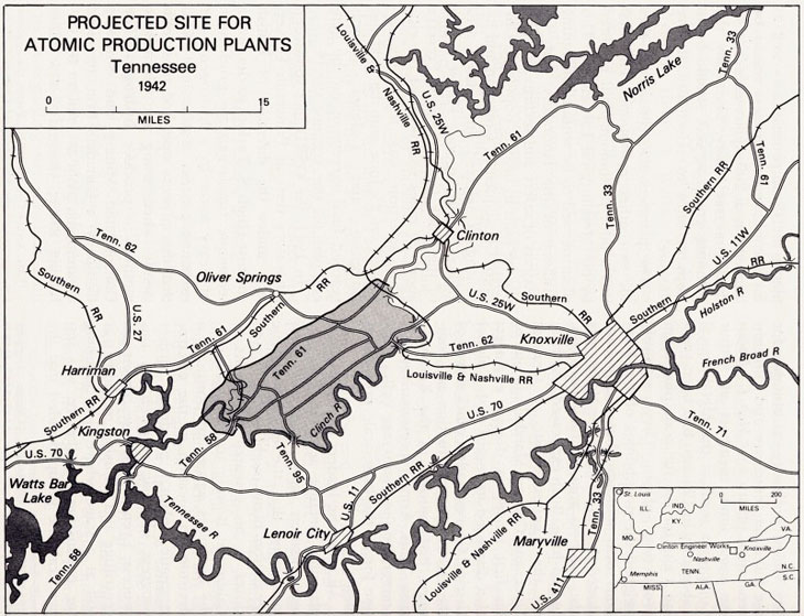 map rendering of projected site for atomic production plants