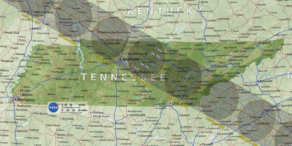 full color solar eclipse map over tennessee