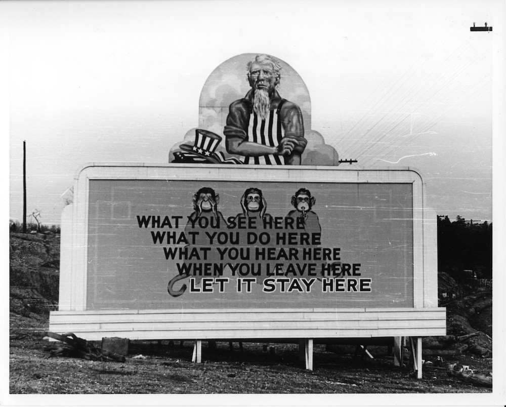 A Manhattan Project-era billboard in Oak Ridge urging people to keep quiet.