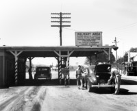 A guardhouse checkpoint in Oak Ridge during the Manhattan Project.