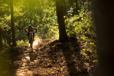 A mountain biker at Windrock Park.