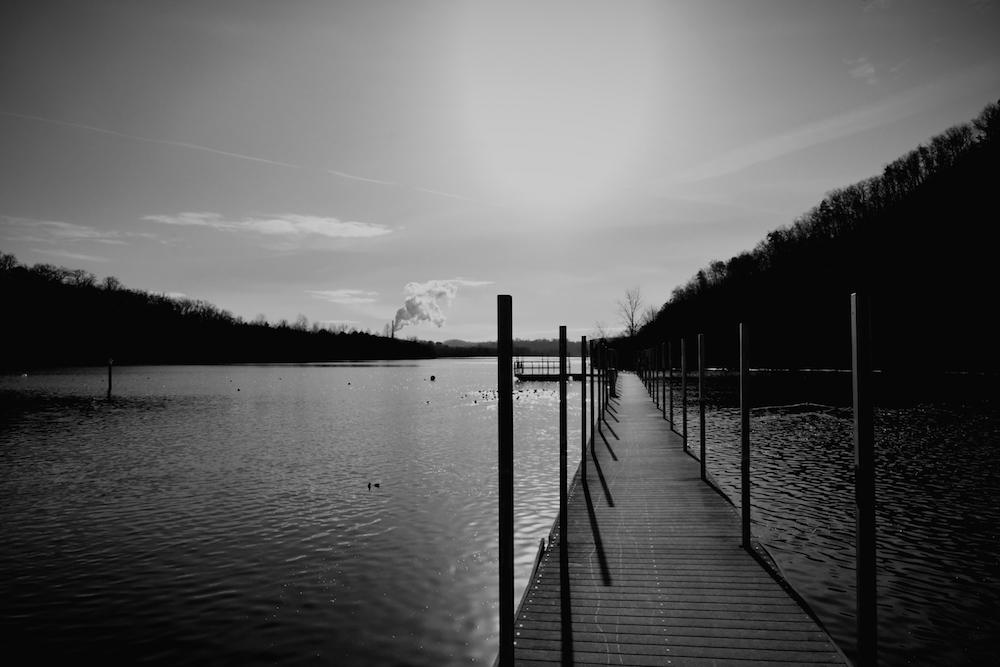 A black and white photo of Melton Lake in Oak Ridge TN.