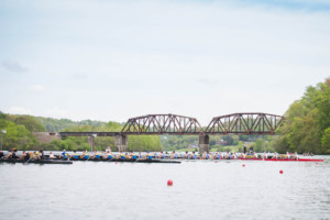 Rowing teams on Melton Hill Lake in Oak Ridge TN.