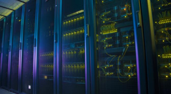 A glowing supercomputer.