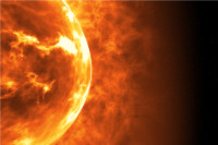 An illustration of the sun's surface and solar flares.