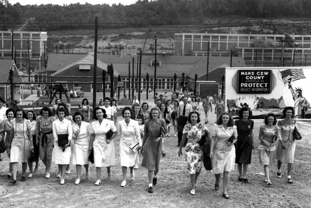 A large group of women walking in Oak Ridge during WWII.