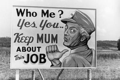 A WWII propaganda poster in Oak Ridge.
